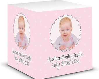 Baby Girl Photo Sticky Note Cube (Personalized)