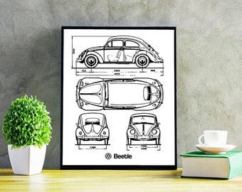 "VW Beetle Blueprint, Volkswagen Beetle, Original Beetle, VW Beetle Decor, Blueprints, Instant Download, VW Beetle Poster, 5x7, 8x10"", 11x14"""