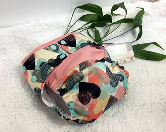 Med/Large Cloth Diaper - Hybrid AI2 Waterproof PUL Hearts