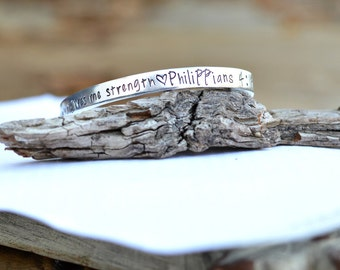 Hand Stamped Custom Christian Philippians 4 13 I can do all things through him who gives me strength - bible verse cuff bracelet - silbver