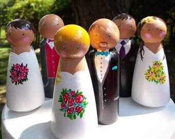 Customizable Wooden Peg Dolls