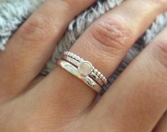 Rose Quartz Ring, Sterling Silver rings, Stacking ring set, Gemstone ring, Birthday gift, Gift for her, UK jewellery, UK sellers only