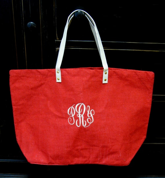 Solid Jute Tote in Red or Yellow