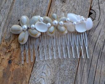 Seashell Pearl Hair Clip, Mermaid, Beach Wedding, Seashell Hair Clip, Shell Barrette, Seashell Hair Accessories, Shell Hair Pin