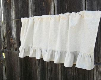 Ruffled Curtains Custom Size Linen Curtains Valance WIndow Treatments Linen Cotton Curtains