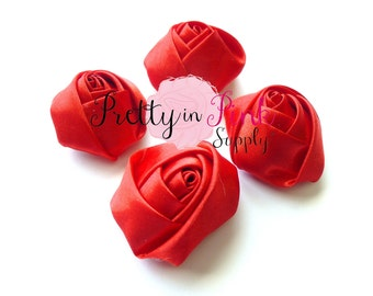 "Red Satin Rolled Rosettes Lot of 4...Satin Rolled Rosettes...Mini Rolled Rosettes...1.5"" Rosettes"