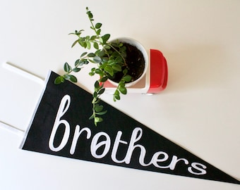 BROTHERS pennant, boys room décor, wall décor for shared boys room, black and white pennant flag, big brother, little brother, boys bedroom