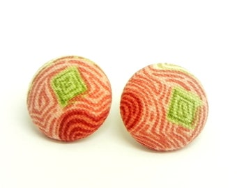 Fabric Button Earrings - Coral, cream, red and green swirl fabric