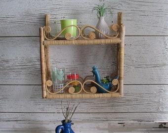 Vintage  Wicker storage shelf – Medium Rattan Shelf - mid century – Boho décor