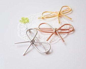 3 Colors/ Bow Barrette / Metal Bow Barrette / Girls Women Hair Clip/ Rose Gold Silver