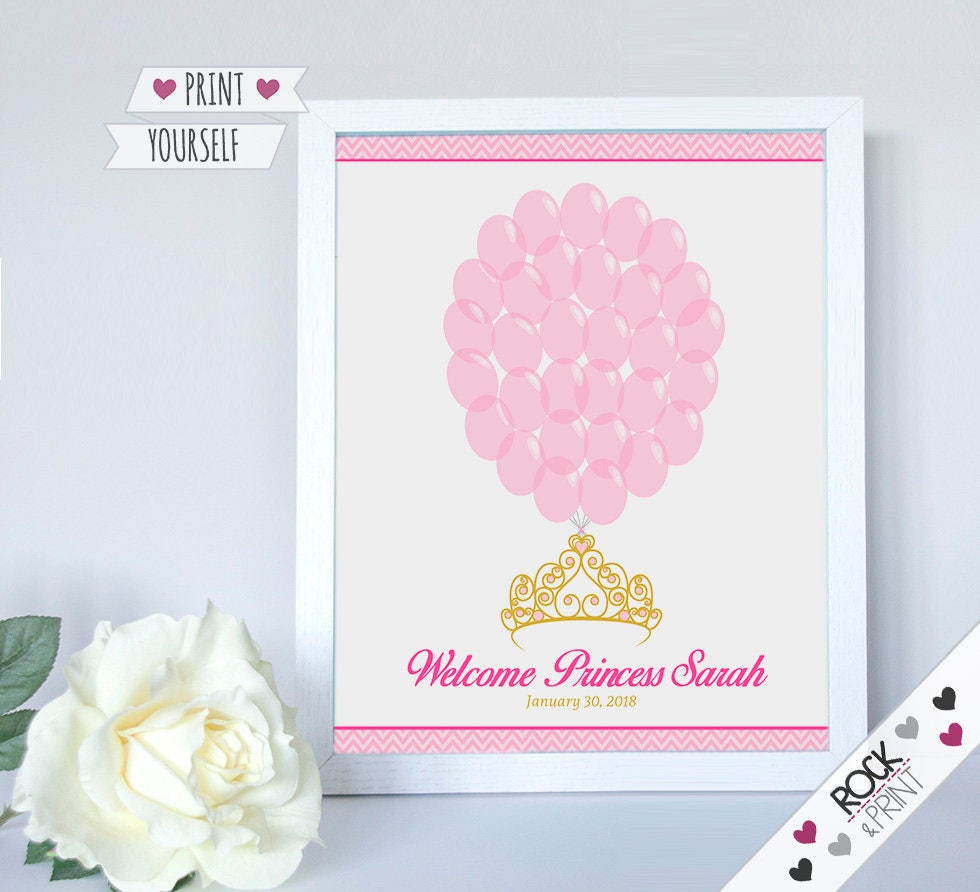 Tiara crown sign in guests printable pdf princess baby zoom solutioingenieria Image collections