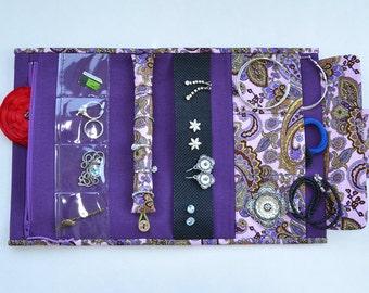 Jewelry roll travel case jewelry organizer jewellery holder earring organizer necklace holder travel jewelry pouch bijou bag purple paisley
