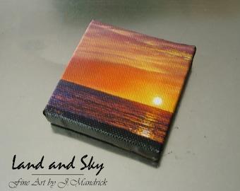 2x2 Ocean Sunset Mini Painting by J. Mandrick