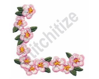 Blossom Corner - Machine Embroidery Design, Flowers, Blossoms, Corner