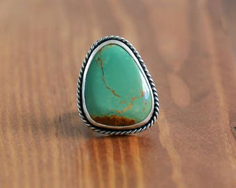 King's Manassa Turquoise Ring, Sterling Silver Ring - Size US 7.5