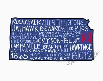 DIGITAL University of Kansas KU Jayhawks Typography Printable Wall Art, Rock chalk Jayhawk, Crimson and Blue, College Football Print