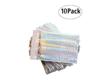 Holographic Bubble Mailers 10 padded envelopes 8x11 foil mailers poly bubble mailers Gift wrap laminated envelopes