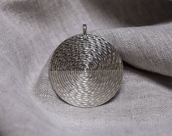 Wheel solar 940/1000 silver spiral wrapped, 50mm diameter Sterling Silver Pendant
