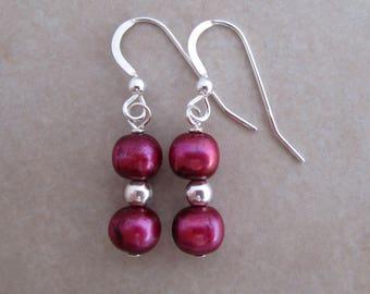magenta pearl sterling silver dangle earrings