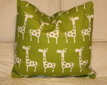 """20""""x20"""" Square Pillow Cover, Lime Green Giraffes, Cushion Cover, Throw Pillow, Premier Prints, Baby, Nursery, Home, Zoo Pillow"""