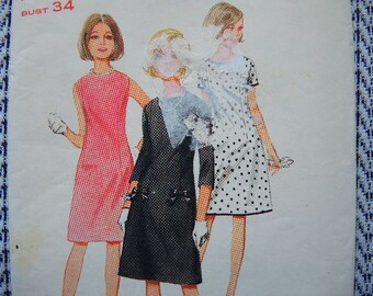 vintage 1960s Butterick sewing pattern 4005 one piece dress size 16