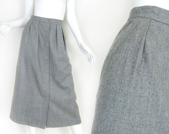 Sz 6/8 80s Gray Wool Pleated Midi Skirt - Women's Vintage Grey Button Up Front Long Women's Skirt - Classic Preppy Fall Winter clothing