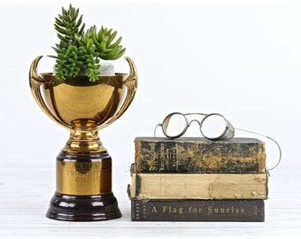 Vintage Trophy Cup Old Trophy Vintage Gold Trophy Vintage Sports Car Club Of America Trophy 1950's Trophy Retro Trophy Succulent Holder