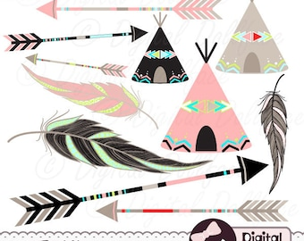 Tribal Arrow Clip Art, Digital Feather, Teepee Clipart, Aztec, Native American
