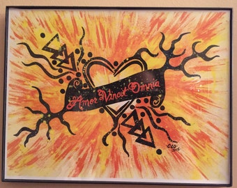 Love Conquers All tribal prints/acrylic/splatter/multicolored/yellow/orange/black/Latin