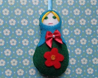 Blue & Green Felt Russian Doll Ornament by Pepperland