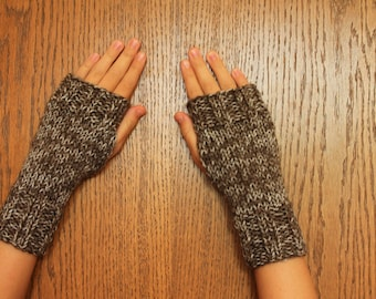 Hand Knit Fingerless Mittens/Texting Gloves - Brown variegated Wrist Warmers- One Size Fits All