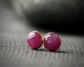 5mm rose cut pink sapphire and 14k rose gold bezel set stud earrings