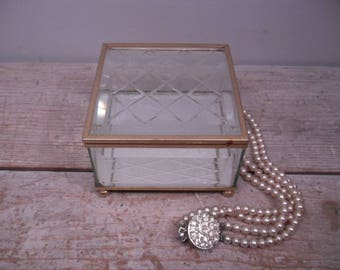 glass and brass display box / etched jewelry box / display case