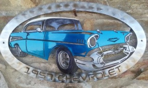 1957 Chevrolet Wall Art,Custom,Auto Enthusiast,Vintage Car,Muscle Car,Garage Sign,Motorsport,Man Cave,Gift for Him,Gift for Her,Metal Art