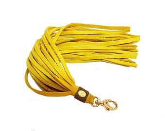 Yellow Leather Tassel, Green Tassel Purse Charm, Yellow Leather Key Fob, Long Tassel Charm, Yellow Leather Keychain Tassel