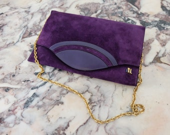 1960s vintage 'Ted Lapidus' purple suede leather handbag shoulder evening bag with golden chain - Mod Sixties