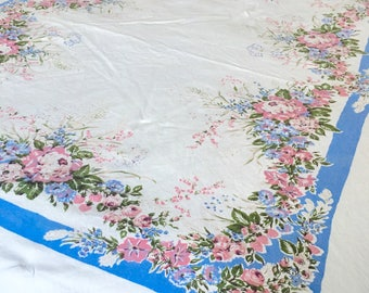 Beautiful Large Vintage Linen Tablecloth Rectangular Pink Flowers Strawberries Blue White Unique Table Cloth