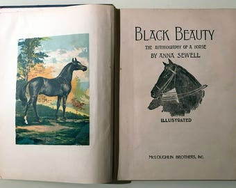1877 Black Beauty by Anna Sewell illustrated novel hardcover