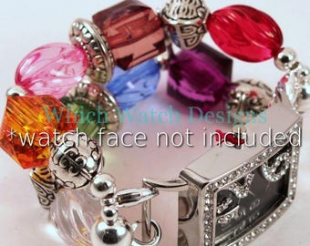 Multi Bling.. Jewel-Tone Acrylic and Silver Plated Bead Interchangeable Watch Band