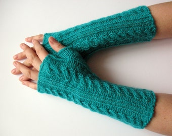 Turquoise Fingerless Gloves Arm Warmers Mittens Knit, Soft Acrylic Mohair