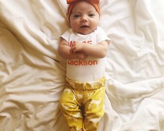 Summer Yellow Elk Pants, Leggings, Baby Girl, Gift, Woodland, Deer, Newborn