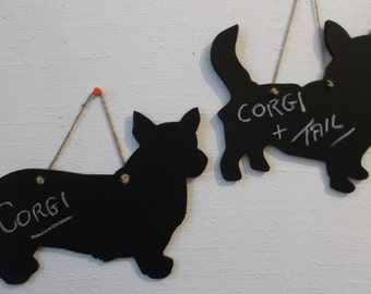 DOG - CORGI shaped chalkboard either with or without a tail Birthday Christmas present unique handmade gift wall hanging decor