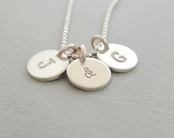Personalised Necklace Silver Initial Necklace mothers day gift for women personalized necklace stamped disc sterling silver gifts for women