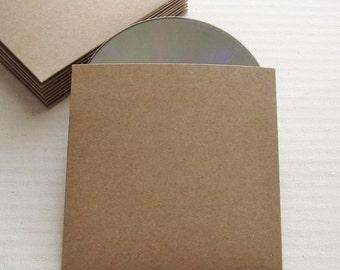 100 Recycled Kraft CD Sleeves No Logo - Wedding Favor, Photography Packaging - DVD, DIY