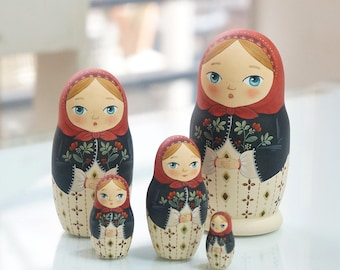 Red, Russian Nesting Dolls-5piece set,Matryoshka nesting dolls, Matryoshka dolls, Russian dolls,babushkas,wooden dolls, Gift for her