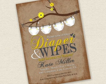 Baby Shower Invitation, Diaper and Wipes Baby Shower Invitation, Rustic Baby Shower Invitation, Neutral Baby Shower Invitation, Baby Shower