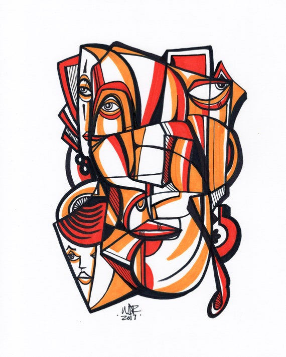 "Citrone - Original mixed media Illustration on Paper - 8"" x 10"""