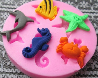 sea creature silicone mold - dolphin mold - sea horse mold - fish mold - crab mold - 5 cavities