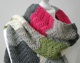 Crochet Scarf Pattern - Subway Scarf - Crochet Ripple Scarf Pattern - PDF