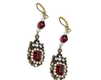 NEW! Gold, Ruby red earrings,  womans, boho, fashionable, regency, statement, vintage style, womans earrings, dangle modern, free shipping